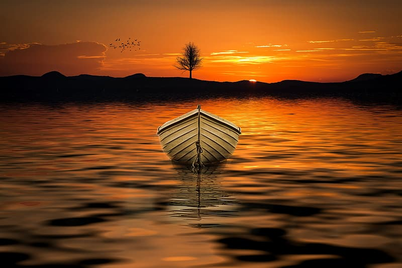 Illustration of white row boat on body of water during sunset
