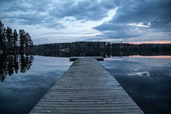 Brown wooden lake dock