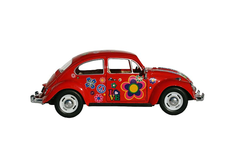 Multicolored floral red Volkswagen Beetle coupe