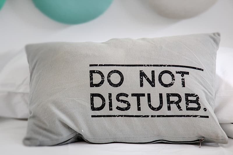Grey do not disturb-printed bed pillow