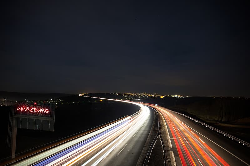 Timelapsed photography of road