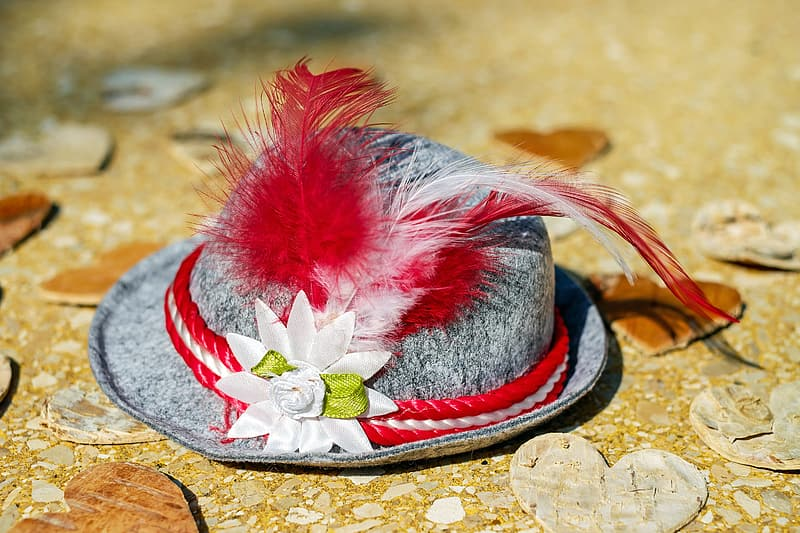 Gray and red feather themed hat