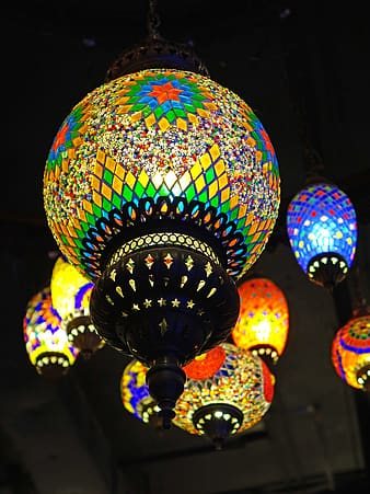 Black stained glass lamps