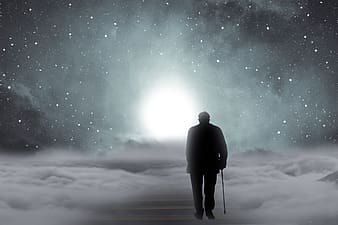 Man holding walking cane on clouds illustration
