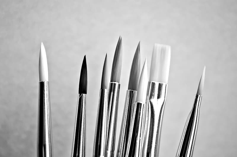 Grayscale photograph of paint brushes
