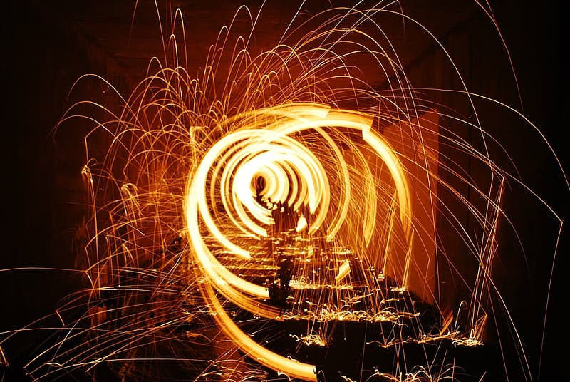 Steel wool photography of orange lights
