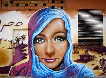 Painting of woman wearing blue and pink headscarf