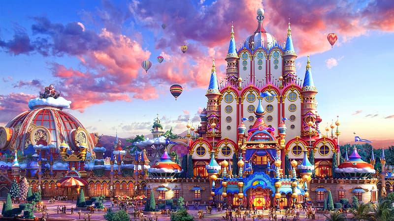 Colorful castle with hot air balloons