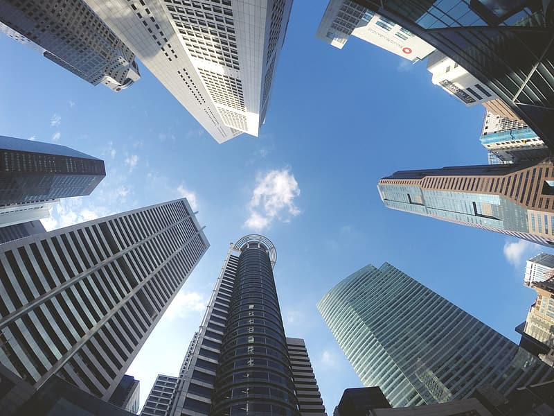 Worm's eye view of high rise buildings