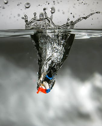 LEGO toy on splash of water photophy