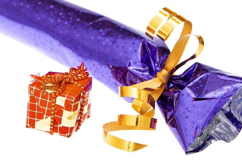 Blue and gold gift box with yellow ribbon