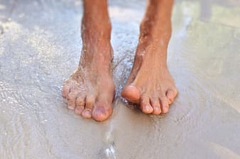 Person's wet feet