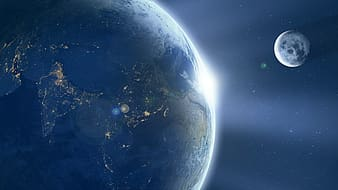 White and blue planet with moon