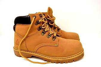 Beige leather hiking boots