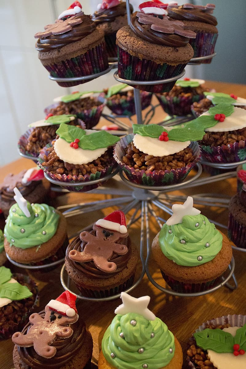 Chocolate cupcakes on cupcake stand