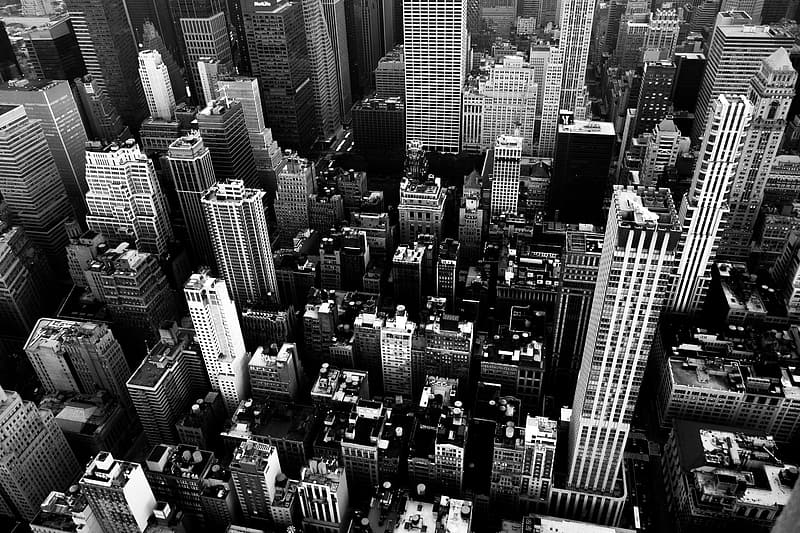 Grayscale aerial view photography of city
