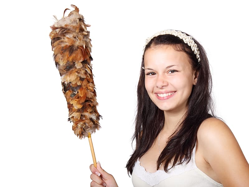Woman in white and beige spaghetti strap shirt holding feather duster
