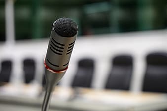 Selective focus of black desk microphone
