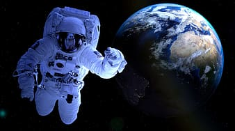 Astronaut floating on outer space near earth