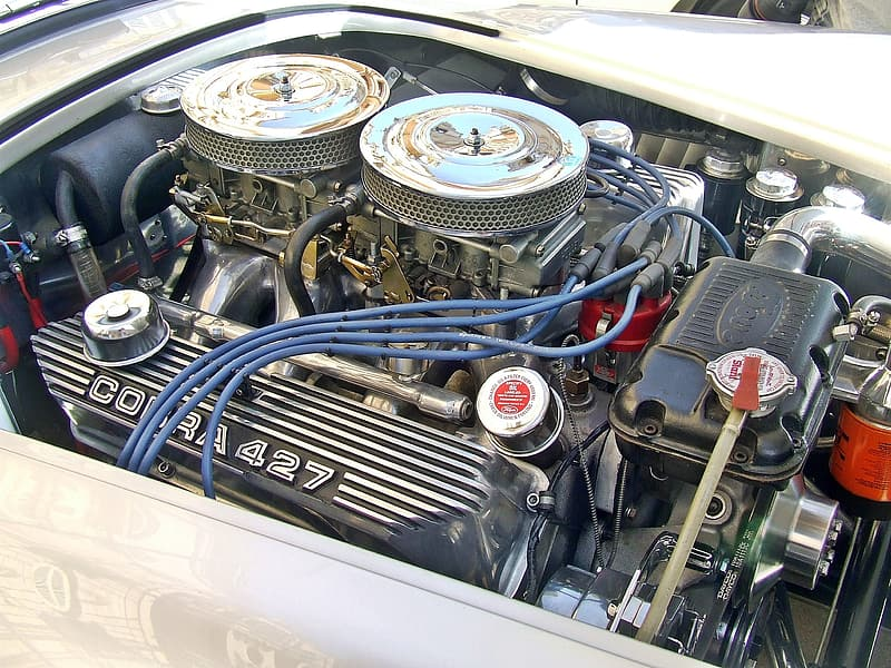 Black and silver car engine bay