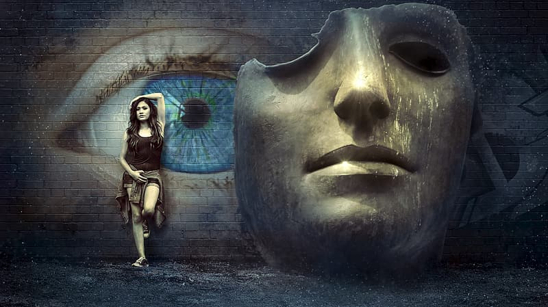Woman in black tanktop near gray and blue wall with eye and mask graffiti photography