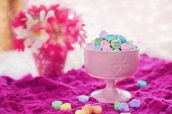 Pink cup with assorted beads