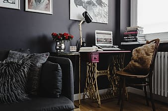 Pink desk in the home office