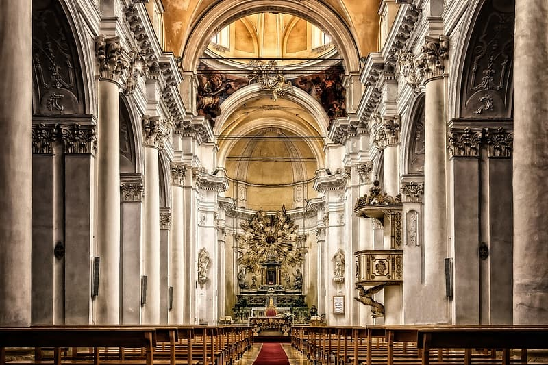 White and beige cathedral interior