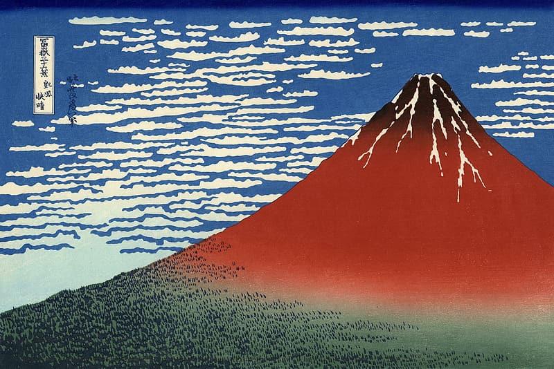 Red and green volcano illustration