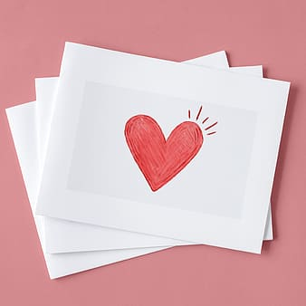 White and red heart print paper