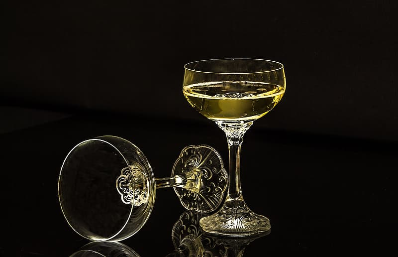 Wine glasses with black background