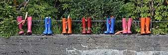 Seven pairs of assorted-color rain boots on gray concrete wall
