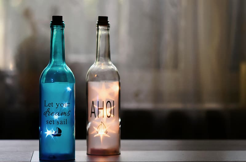 Blue and white love me bottle