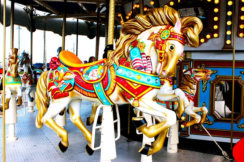 Photo of white and blue carousel