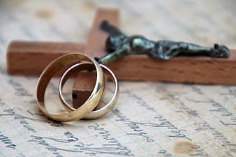 Gold ring on white paper