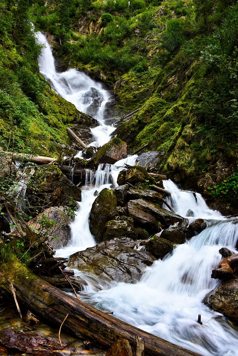 Time lapse photography of cascade waterfalls