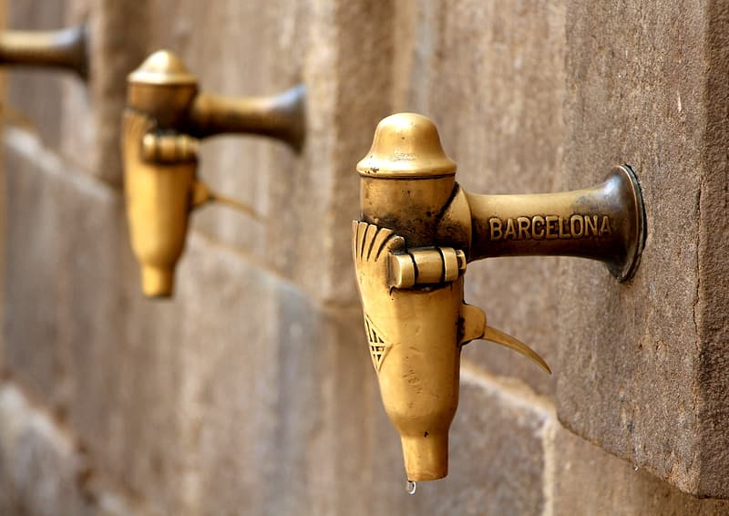 Brass-colored Barcelona faucets