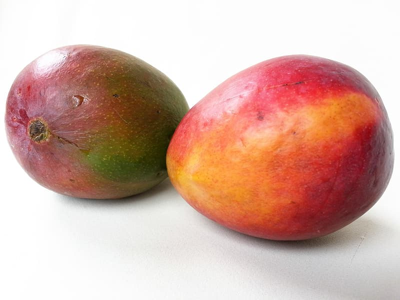 Two red and purple fruits