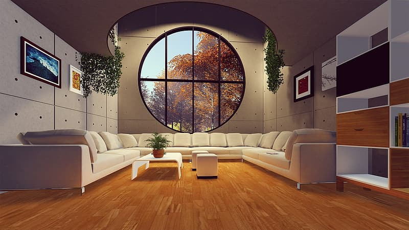 White leather loveseat beside brown wooden table