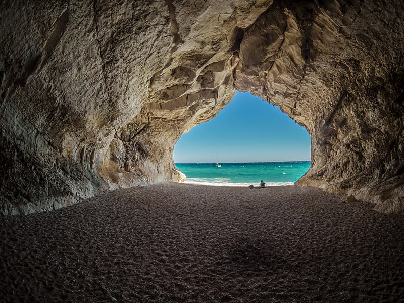 Brown and white cave