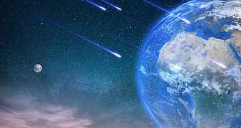 Comets ascending on Earth painting