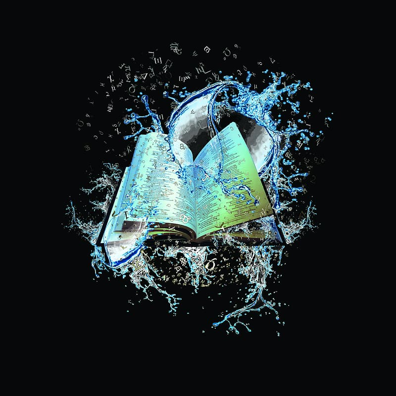 Teal and white book with water splash art