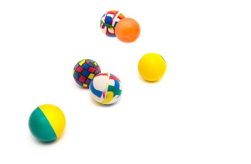 Six assorted-color ball toys