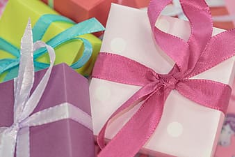 Assorted-color gift boxes