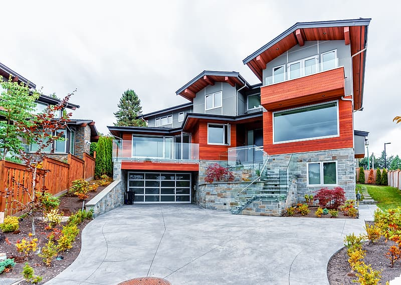 Red and black 3-storey house