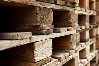 Closeup photo of brown wood pallets