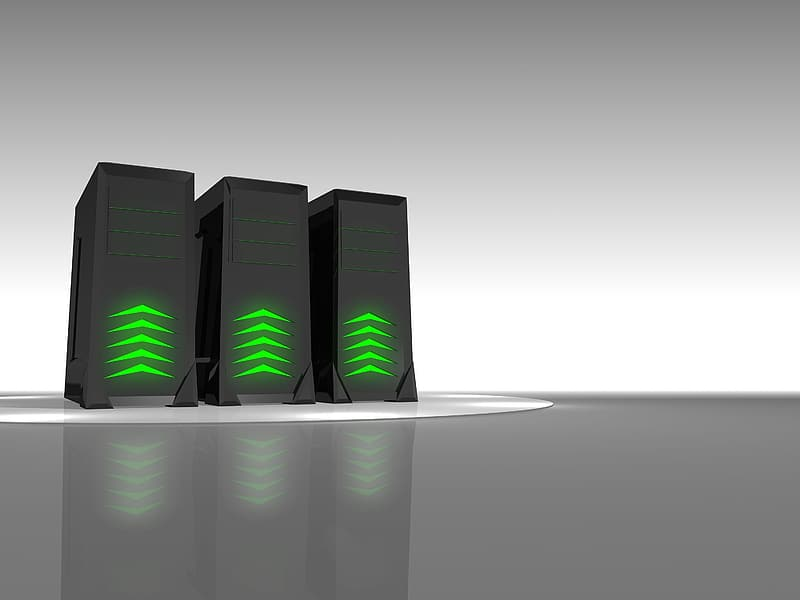 Three black LED computer towers