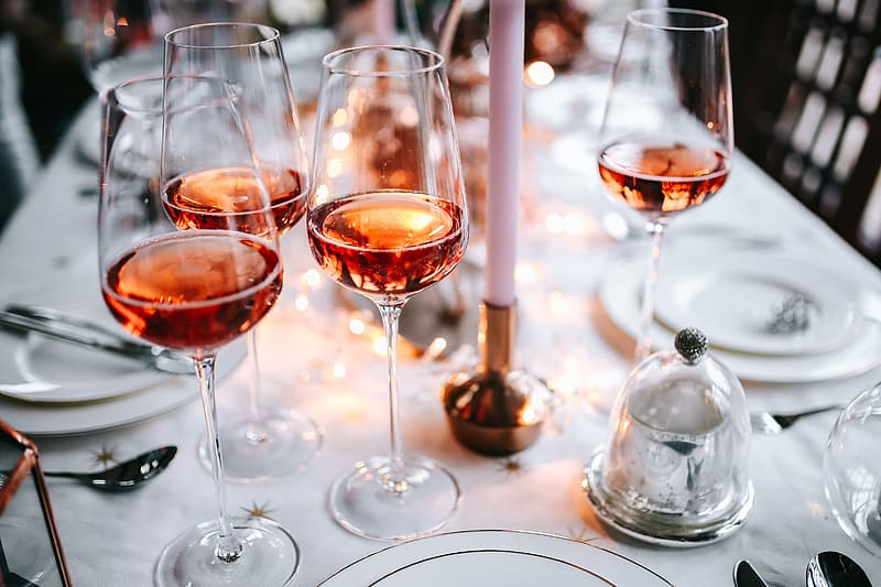 Rose wine glass on christmas table