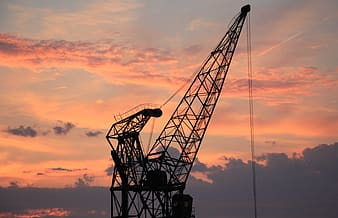 Silhouette photo of dragline