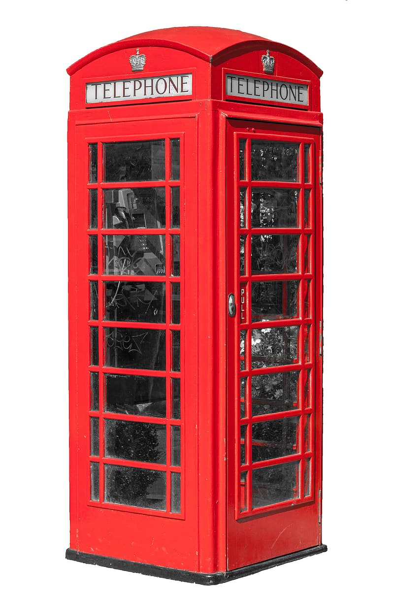 Red steel Telephone booth